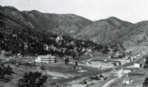 The Green Mountain Falls and the town's charming lake are pictured here, circa 1889.